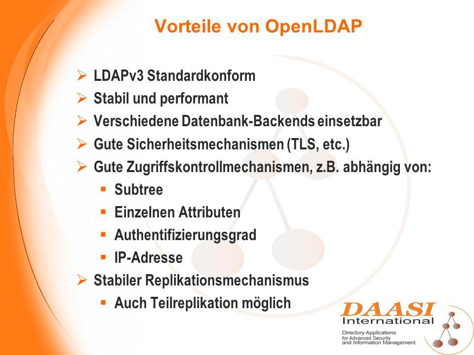 Vorteile von OpenLDAP LDAPv3 Standardkonform Stabil und performant