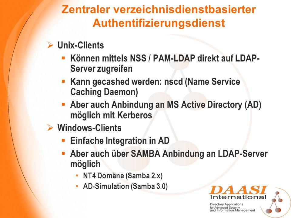 Zentraler verzeichnisdienstbasierter Authentifizierungsdienst