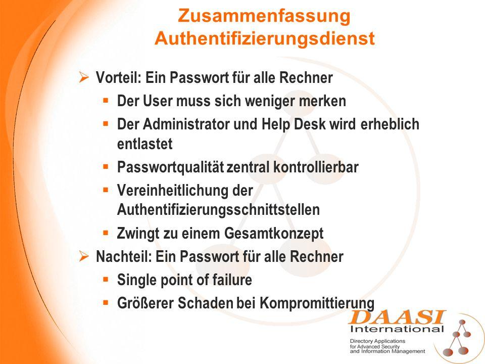 Zusammenfassung Authentifizierungsdienst