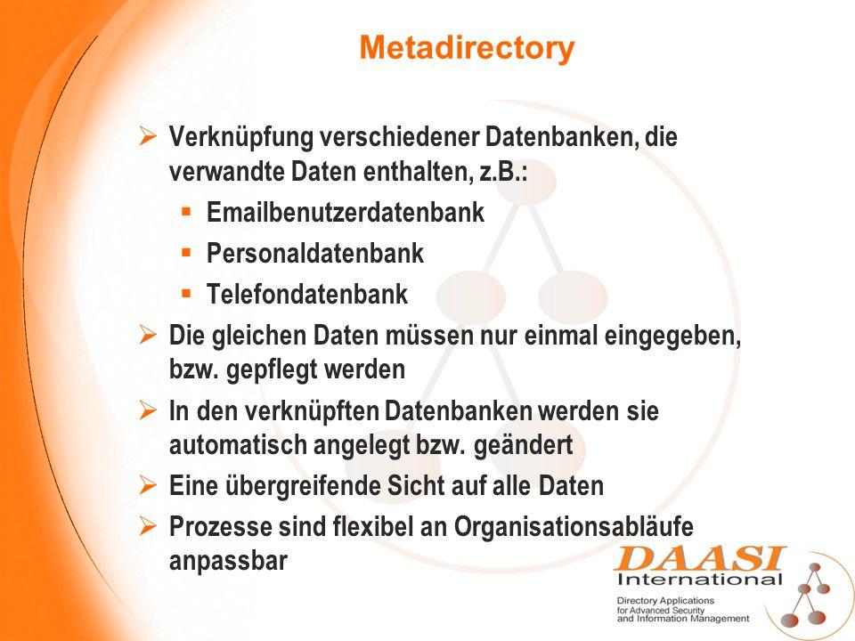 Metadirectory Verknüpfung verschiedener Datenbanken, die verwandte Daten enthalten, z.B.: Emailbenutzerdatenbank.