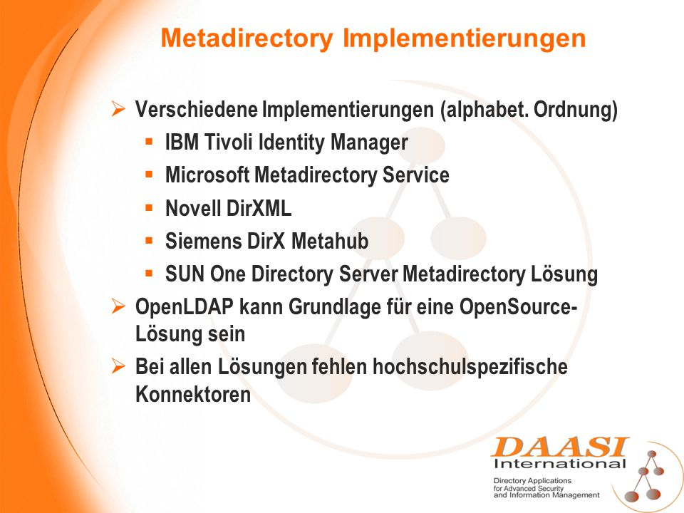 Metadirectory Implementierungen