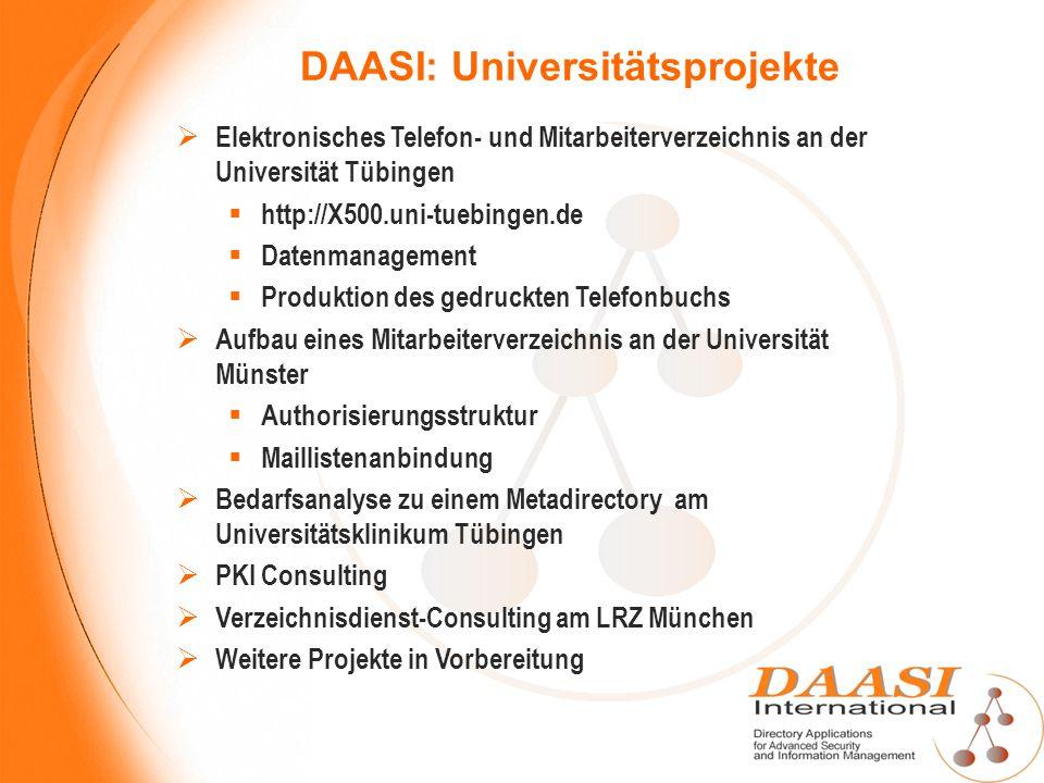 DAASI: Universitätsprojekte