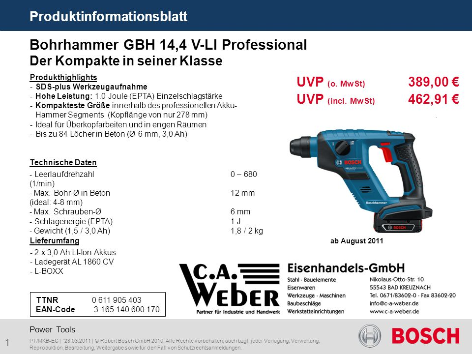 Bohrhammer GBH 14,4 V-LI Professional