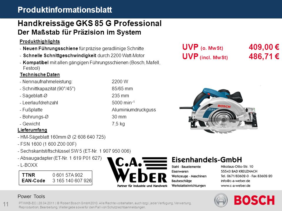 Produktinformationsblatt