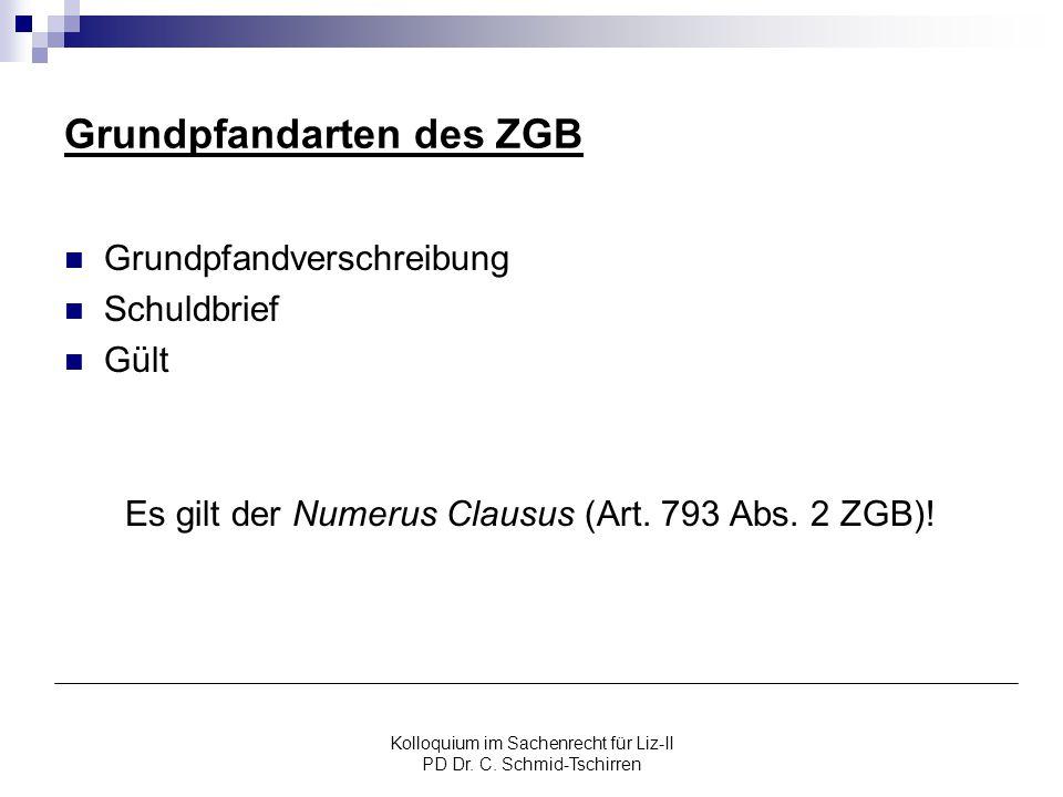 Grundpfandarten des ZGB