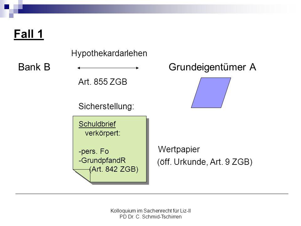 Kolloquium im Sachenrecht für Liz-II PD Dr. C. Schmid-Tschirren