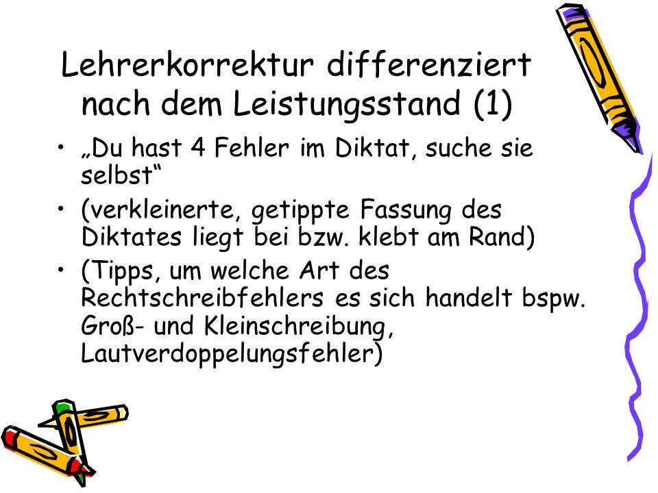 Lehrerkorrektur differenziert nach dem Leistungsstand (1)