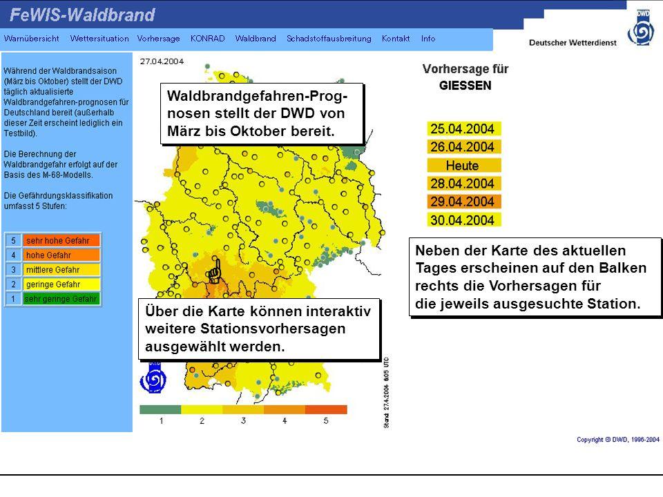 Waldbrandgefahren-Prog-nosen stellt der DWD von März bis Oktober bereit.