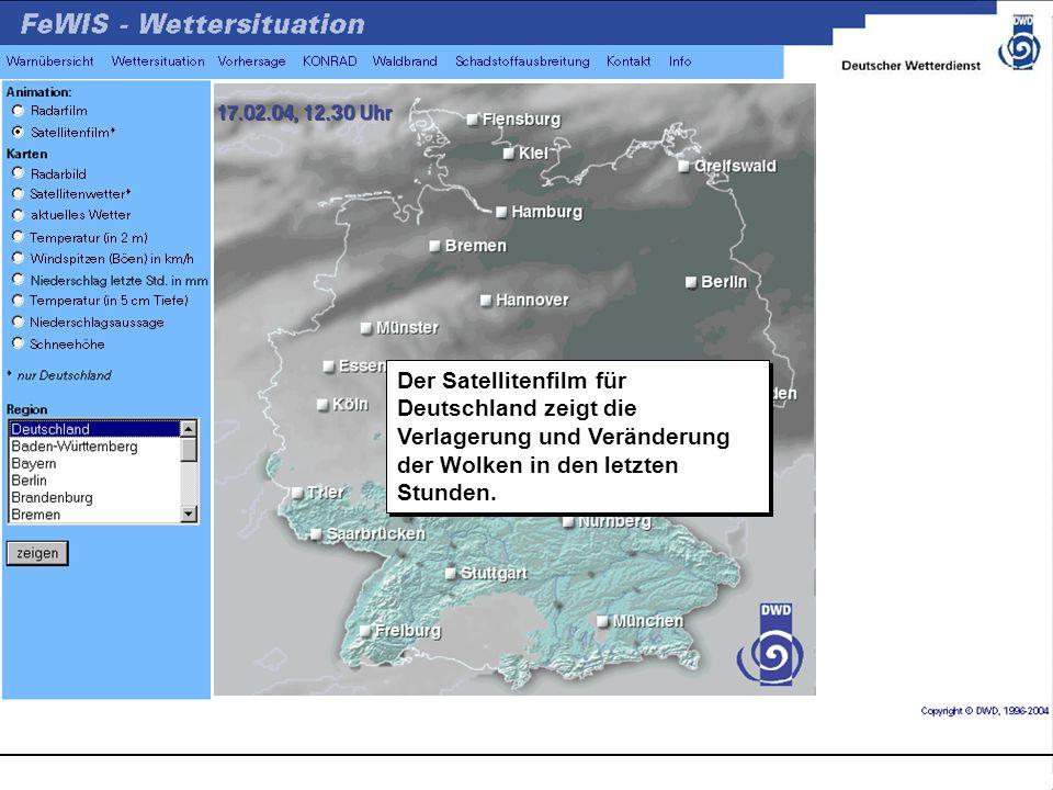 Der Satellitenfilm für Deutschland zeigt die Verlagerung und Veränderung der Wolken in den letzten Stunden.