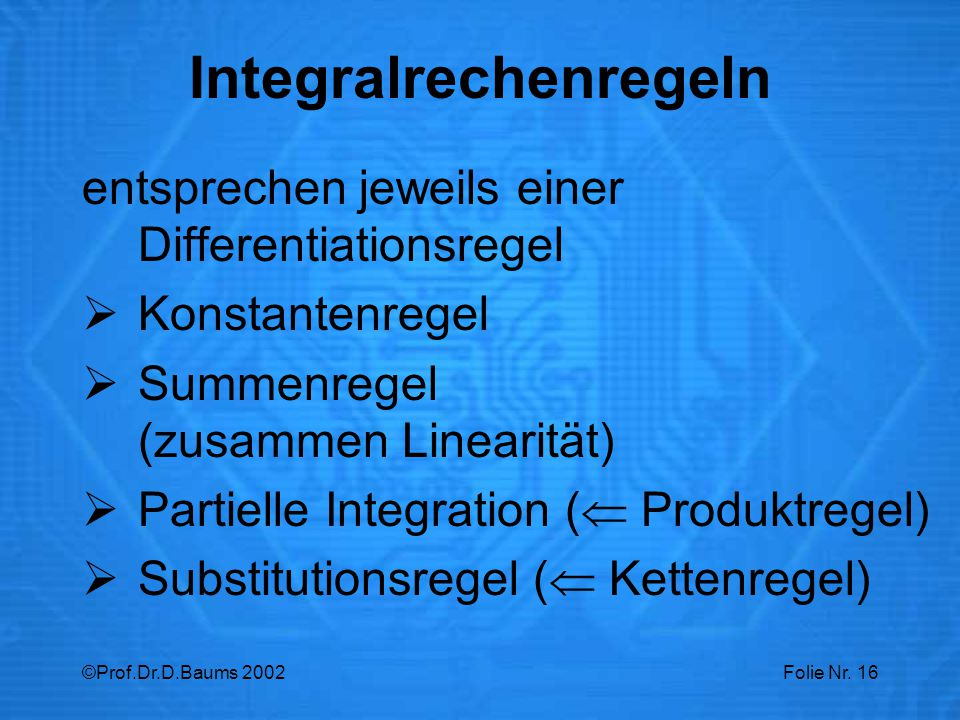 Integralrechenregeln