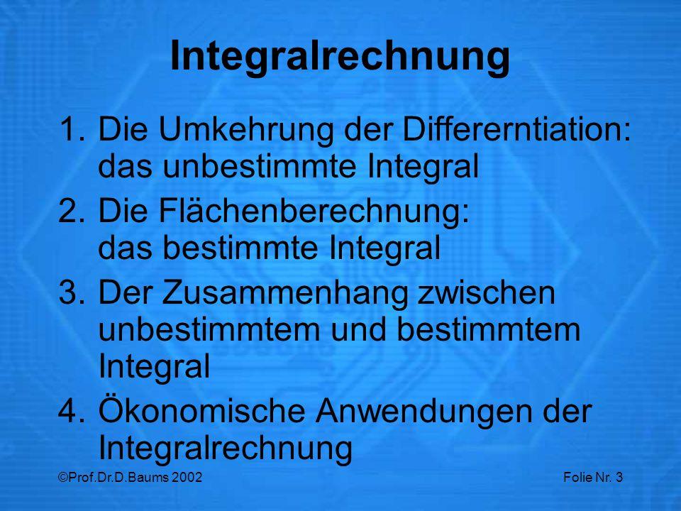 Integralrechnung Die Umkehrung der Differerntiation: das unbestimmte Integral. Die Flächenberechnung: das bestimmte Integral.