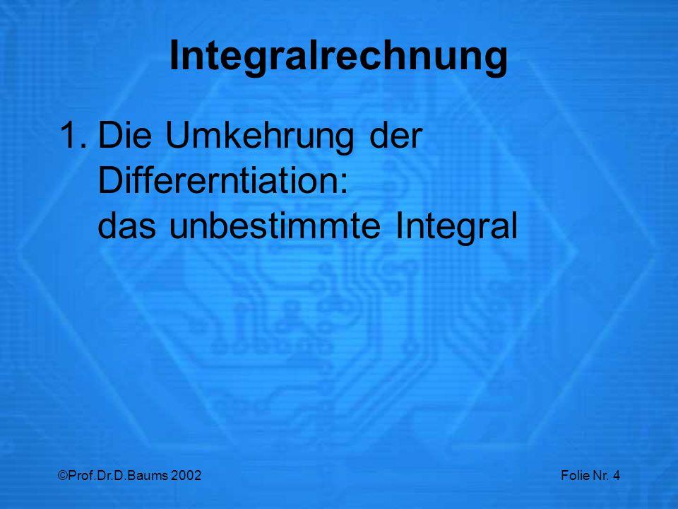 Integralrechnung Die Umkehrung der Differerntiation: das unbestimmte Integral.