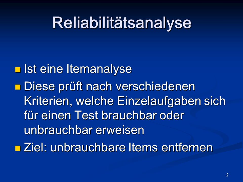 Reliabilitätsanalyse
