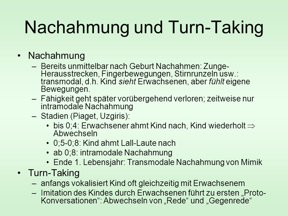 Nachahmung und Turn-Taking