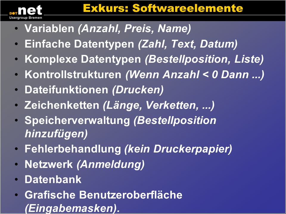 Exkurs: Softwareelemente