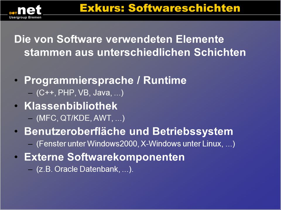 Exkurs: Softwareschichten