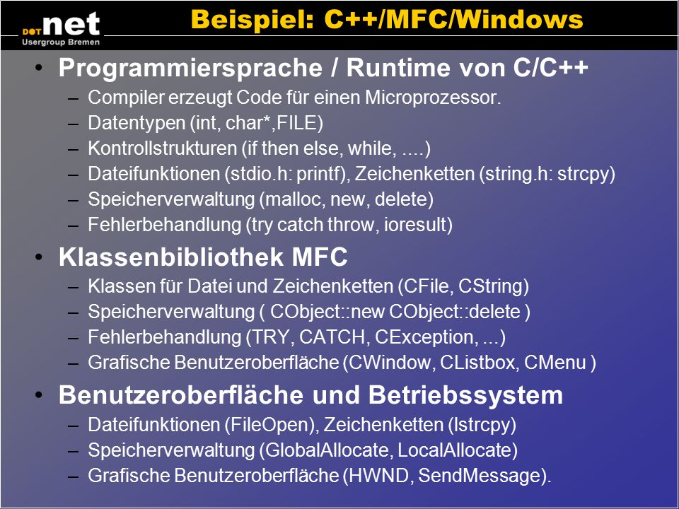 Beispiel: C++/MFC/Windows