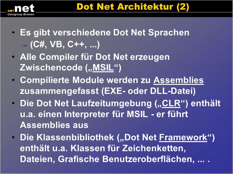 """Dot Net Architektur (2) Es gibt verschiedene Dot Net Sprachen. (C#, VB, C++, ...) Alle Compiler für Dot Net erzeugen Zwischencode (""""MSIL )"""