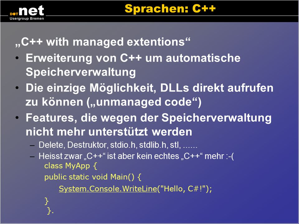 """C++ with managed extentions"