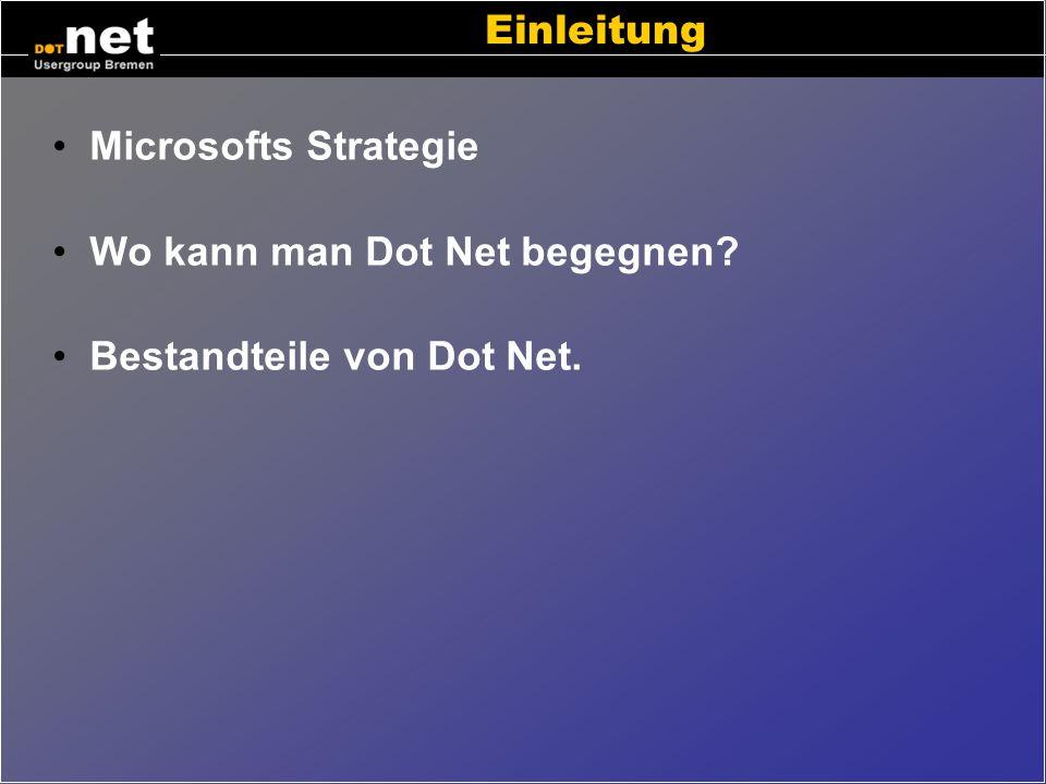 Einleitung Microsofts Strategie Wo kann man Dot Net begegnen Bestandteile von Dot Net.