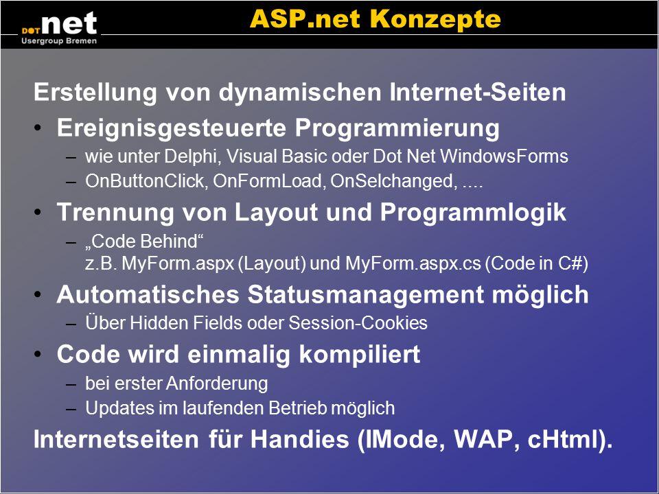 Erstellung von dynamischen Internet-Seiten