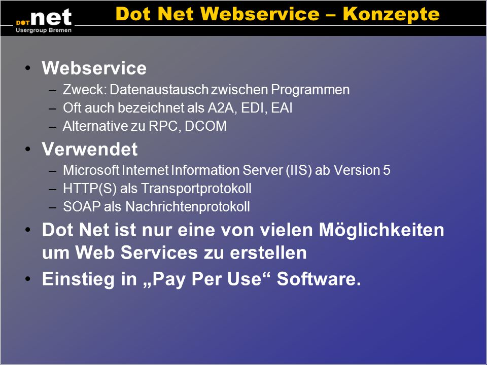 Dot Net Webservice – Konzepte