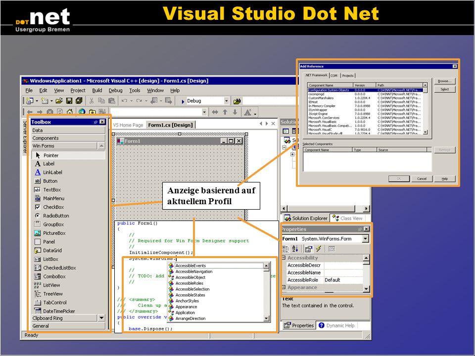 Visual Studio Dot Net Anzeige basierend auf aktuellem Profil