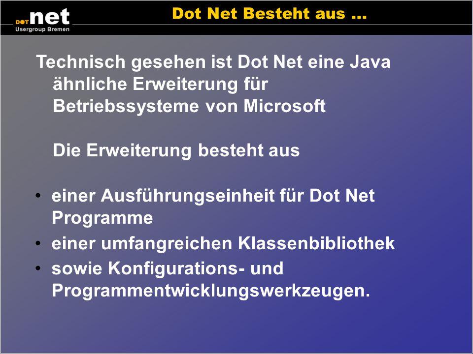 einer Ausführungseinheit für Dot Net Programme
