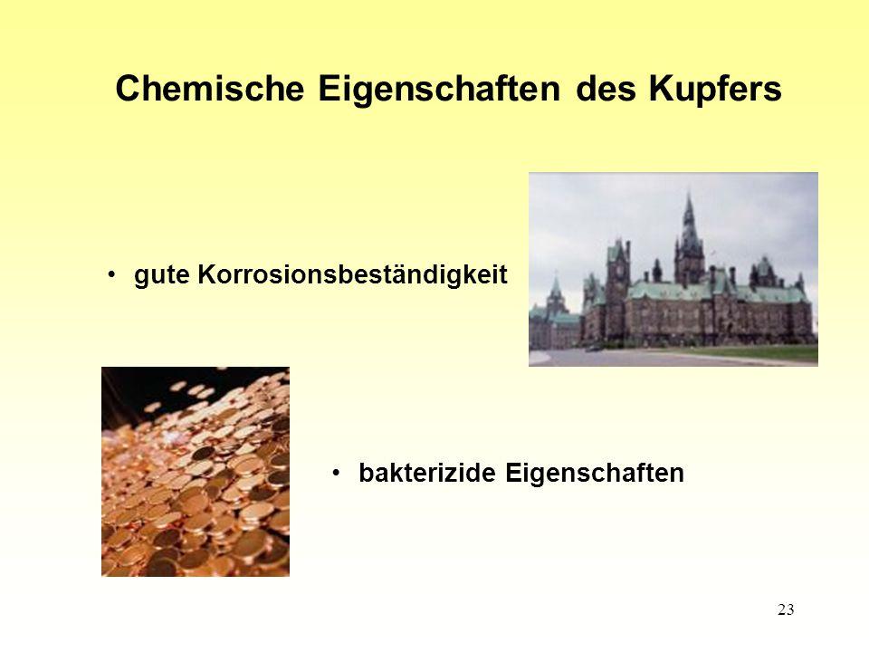 Chemische Eigenschaften des Kupfers