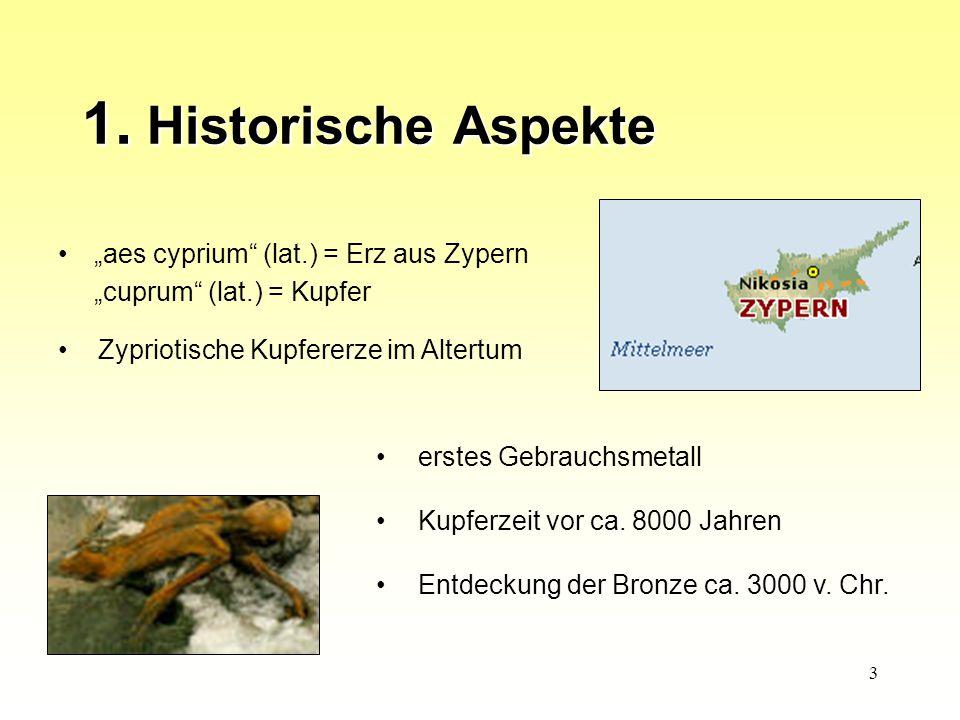 """1. Historische Aspekte """"aes cyprium (lat.) = Erz aus Zypern"""