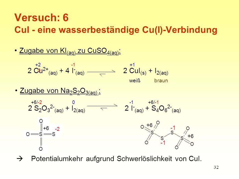 Versuch: 6 CuI - eine wasserbeständige Cu(I)-Verbindung