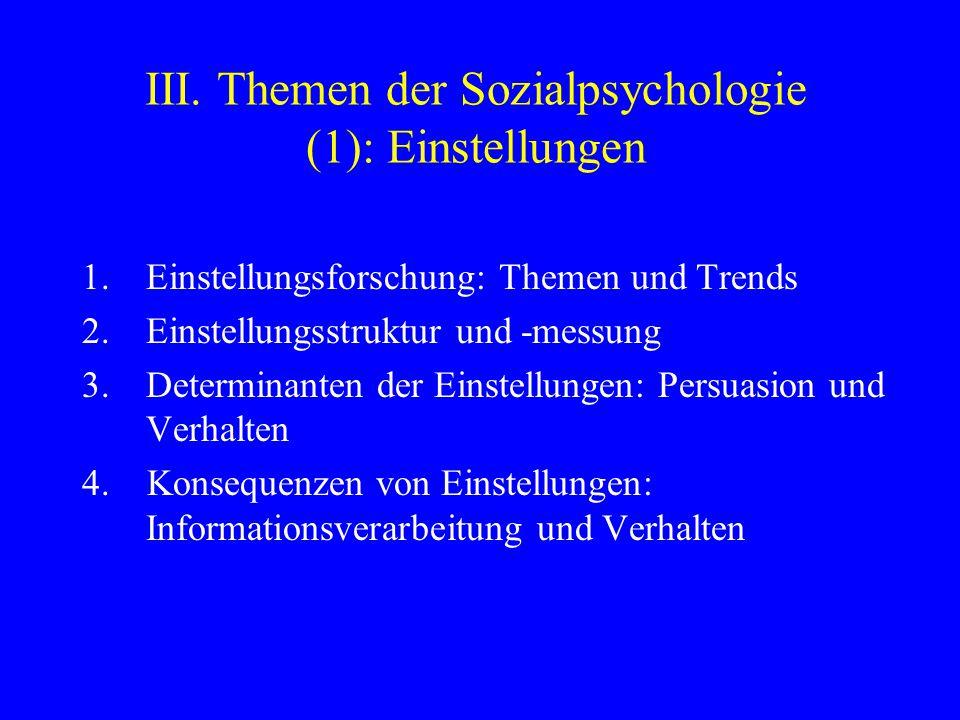 III. Themen der Sozialpsychologie (1): Einstellungen