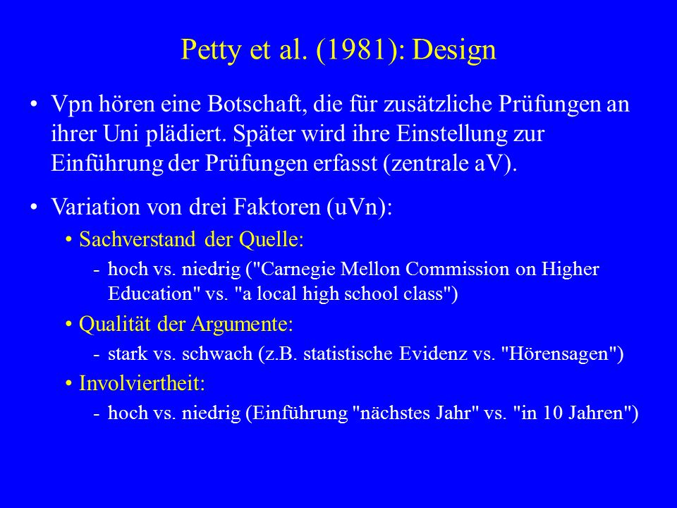 Petty et al. (1981): Design