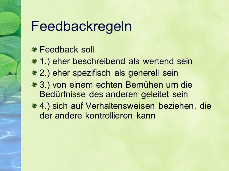 Feedbackregeln Feedback soll 1.) eher beschreibend als wertend sein