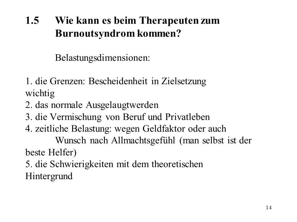 1. 5. Wie kann es beim Therapeuten zum. Burnoutsyndrom kommen