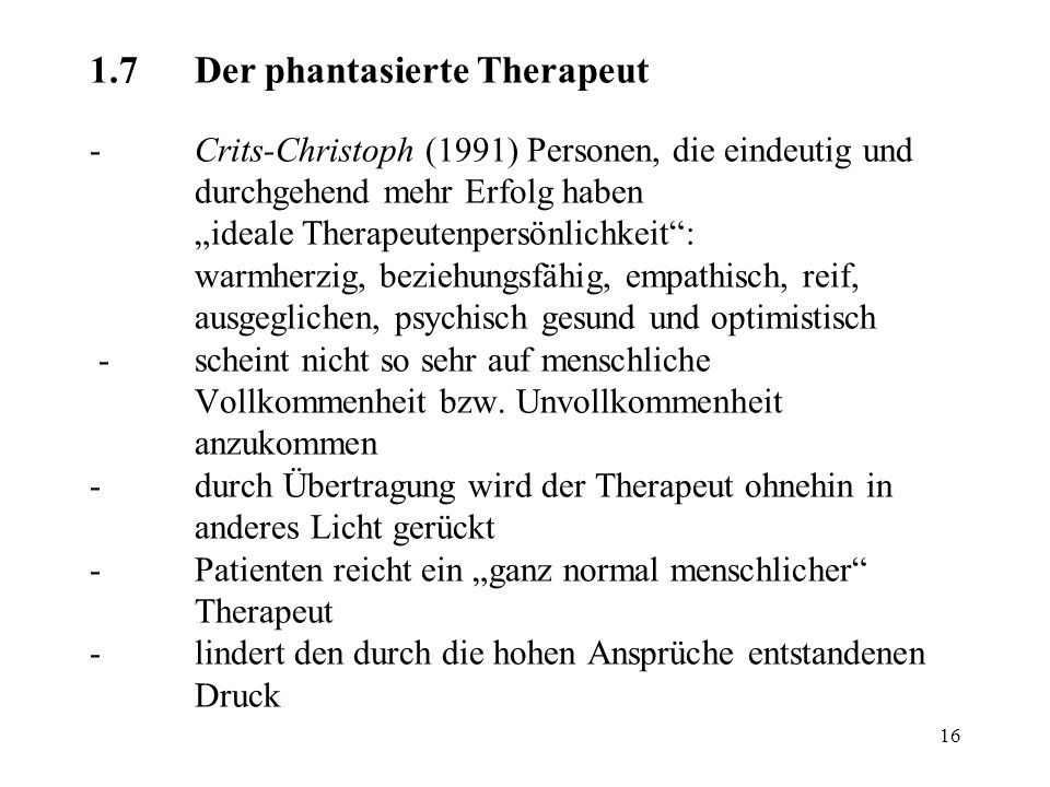 1. 7. Der phantasierte Therapeut -