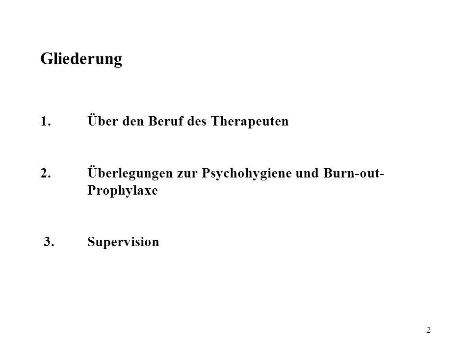 Gliederung 1. Über den Beruf des Therapeuten 2
