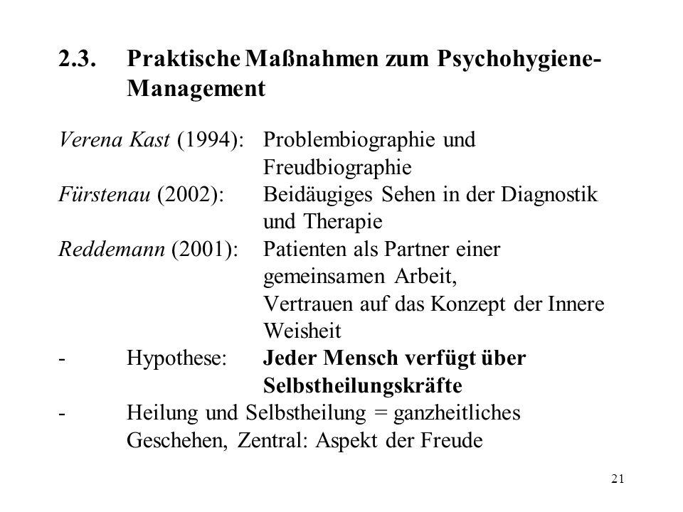 2. 3. Praktische Maßnahmen zum Psychohygiene-