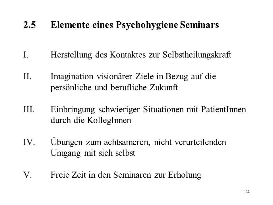 2. 5. Elemente eines Psychohygiene Seminars I