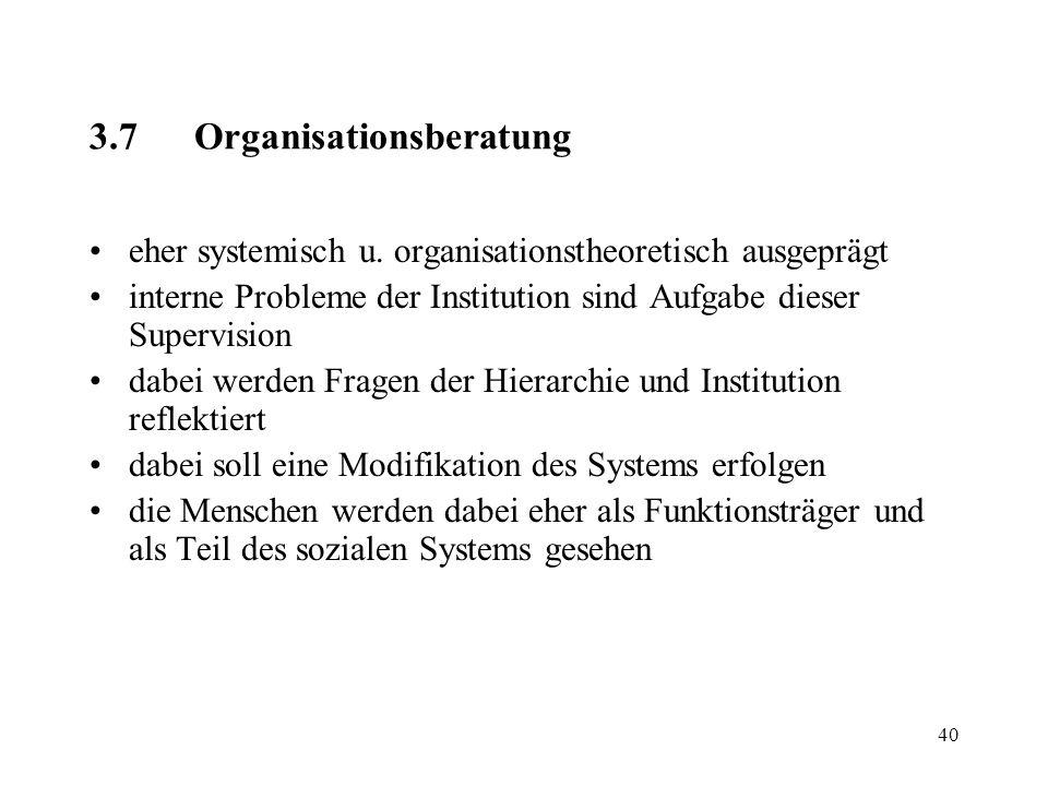 3.7 Organisationsberatung