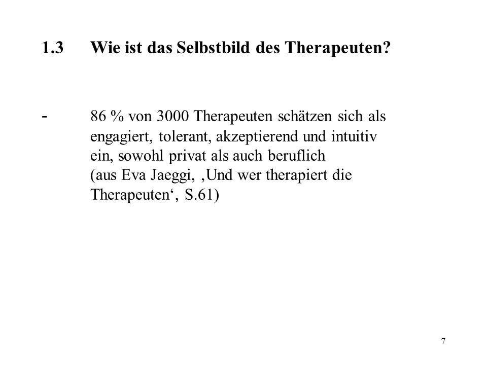 1. 3. Wie ist das Selbstbild des Therapeuten. -