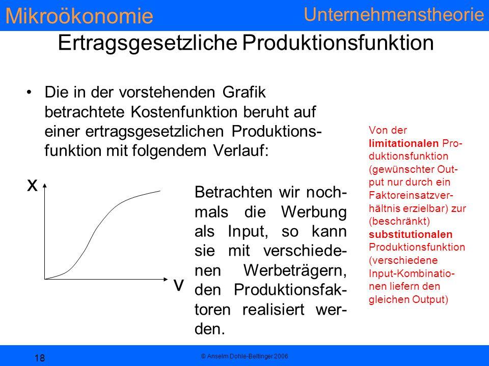 Ertragsgesetzliche Produktionsfunktion