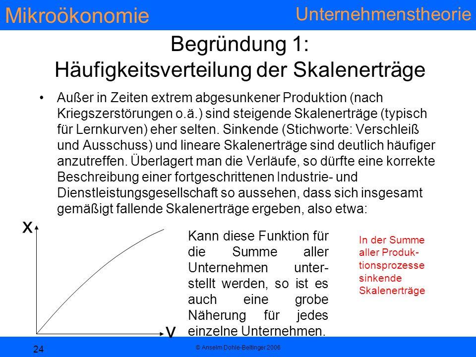 Begründung 1: Häufigkeitsverteilung der Skalenerträge