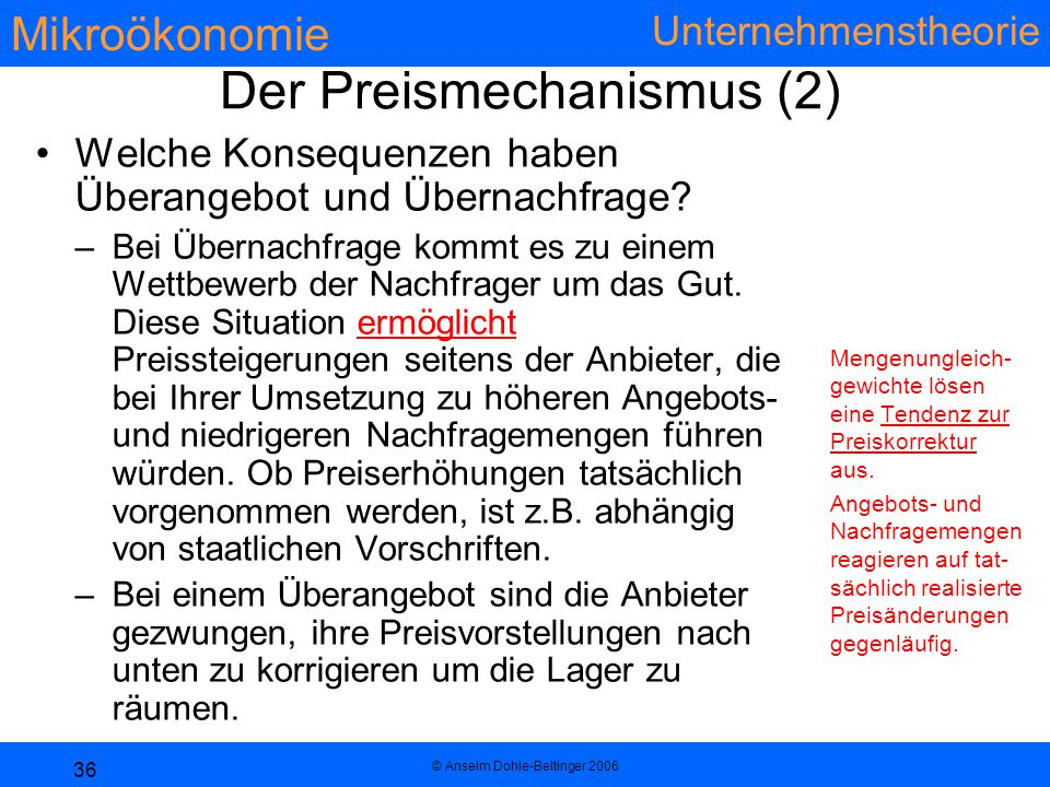 Der Preismechanismus (2)