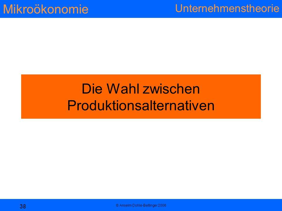 Die Wahl zwischen Produktionsalternativen