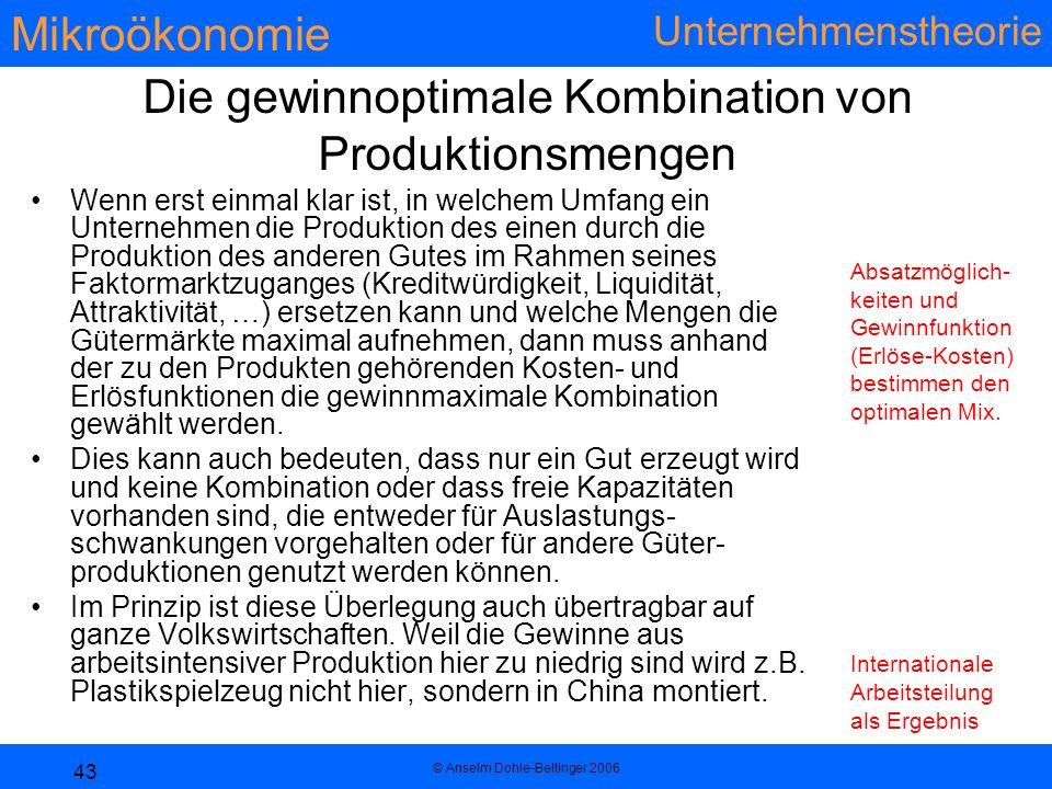 Die gewinnoptimale Kombination von Produktionsmengen