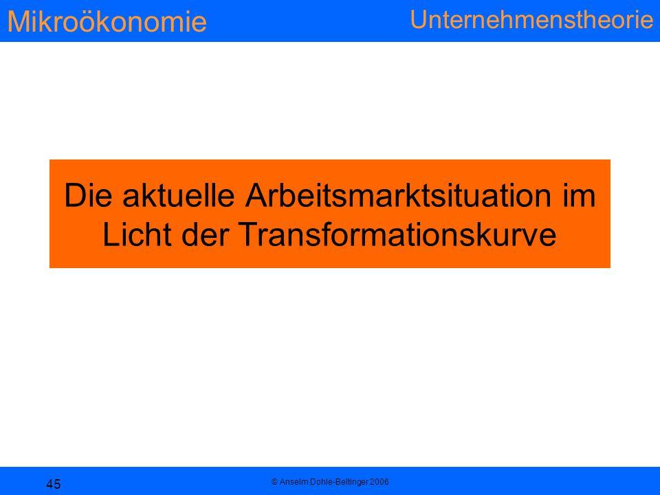 Die aktuelle Arbeitsmarktsituation im Licht der Transformationskurve
