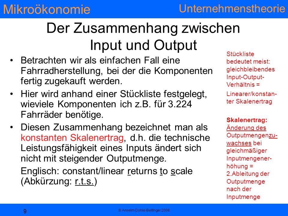 Der Zusammenhang zwischen Input und Output
