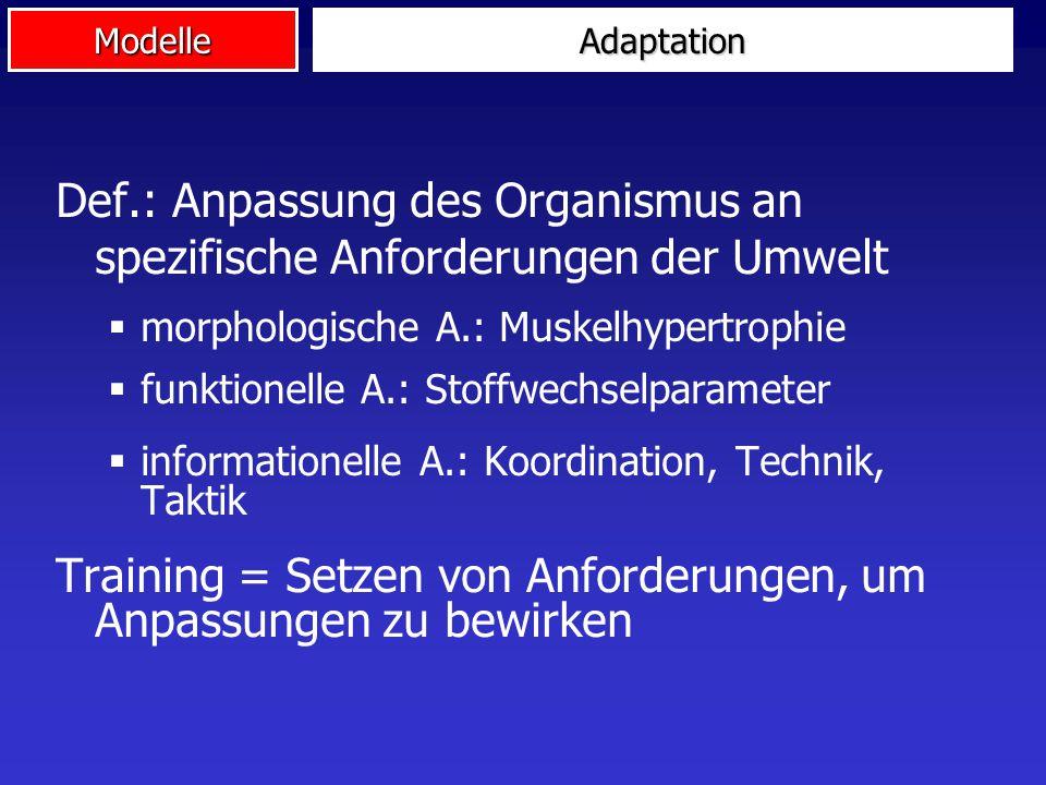 Def.: Anpassung des Organismus an spezifische Anforderungen der Umwelt