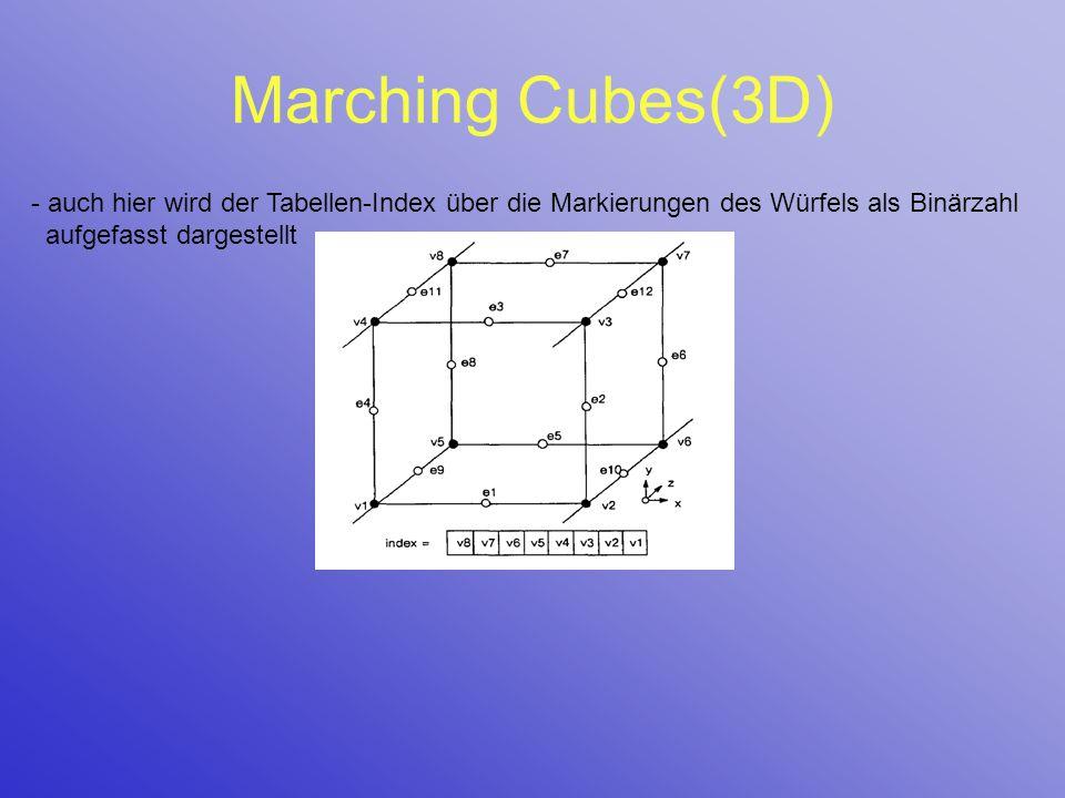 Marching Cubes(3D) auch hier wird der Tabellen-Index über die Markierungen des Würfels als Binärzahl aufgefasst dargestellt.